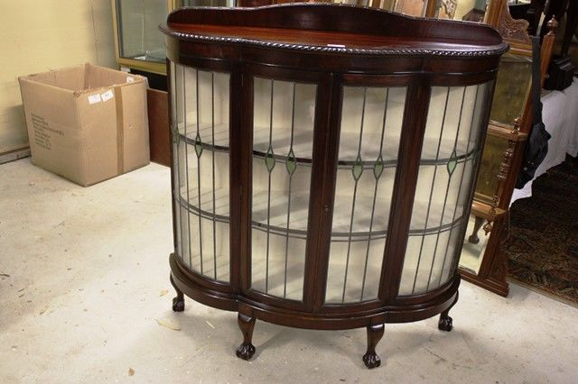 Lead Light Cabinet - Early C20th Lead Light Glass Display Cabinet XXXX Antique Complex