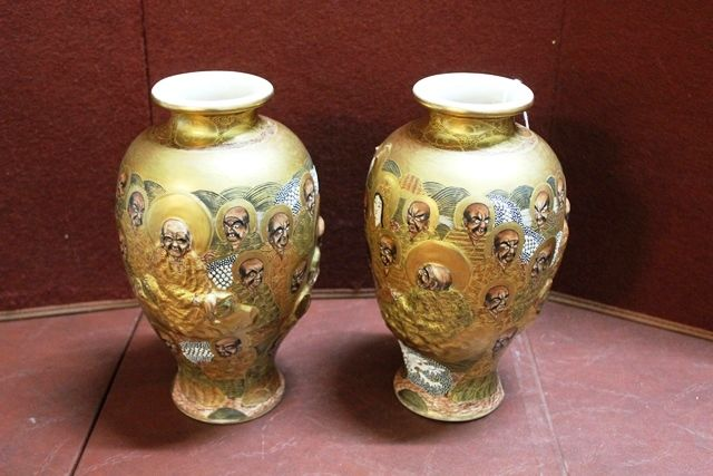 Pair C19th Embossed Satsuma China Vases Xxxx Antique Complex