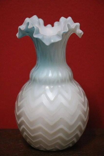Victorian Blue Satin Glass Vase Xxxx Antique Complex