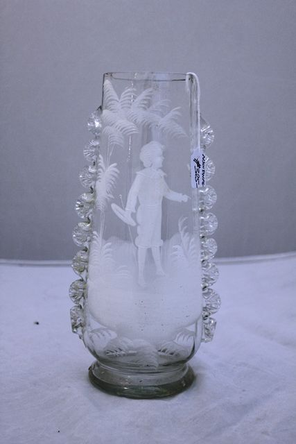 Victorian Mary Gregory Clear Glass Vase Xxxx Antique Complex